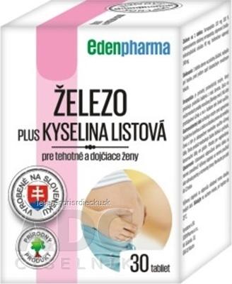 EDENPharma ŽELEZO PLUS KYSELINA LISTOVÁ tbl pre tehotné a dojčiace ženy 1x30 ks