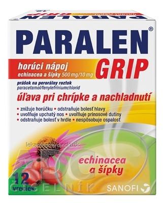 PARALEN GRIP horúci nápoj echinacea a šípky plo por 500 mg/10 mg, 1x12 vrecúšok