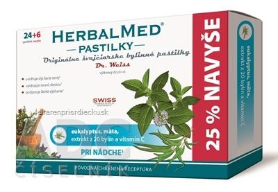 HERBALMED PASTILKY pri nádche - Dr.Weiss (eukalyptus, mäta, 20 bylín, vit.C) pastilky (24+6 navyše) 1x30 ks