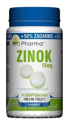 BIO Pharma Zinok 15 mg tbl 100+50 (50% ZADARMO) (150 ks)