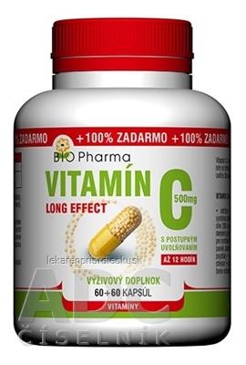 BIO Pharma Vitamín C 500mg Long Effect cps 60+60 (100% ZADARMO) (120 ks)