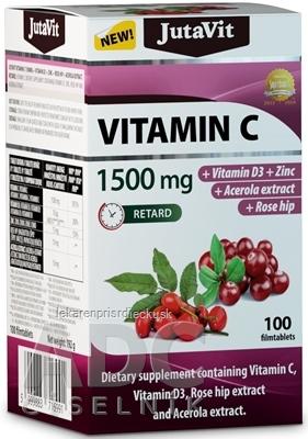 JutaVit Vitamín C 1500 mg tbl s postupným uvoľňovaním, s vitamínom D3, zinkom, šípkami a extraktom z aceroly 1x100 ks