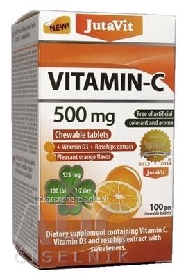JutaVit Vitamín C 500 mg žuvacie tablety s vitamínom D3 a extraktom zo šípok, so sladidlami, s príchuťou pomaranča 1x100 ks