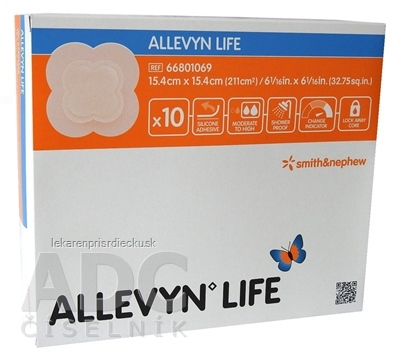 ALLEVYN LIFE Krytie na rany 15,4x15,4 cm, adhezívne penové krytie so silikónovým gélom 1x10 ks