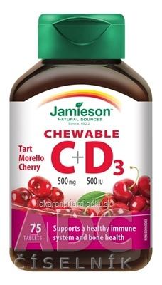 JAMIESON VITAMÍNY C a D3 čerešňa 500 mg/ 500 IU tbl na cmúľanie (cherry) 1x75 ks