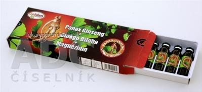 Golden - Panax Ginseng + Ginkgo Biloba + Magnézium ampulky na pitie (á 10 ml) 1x10 ks