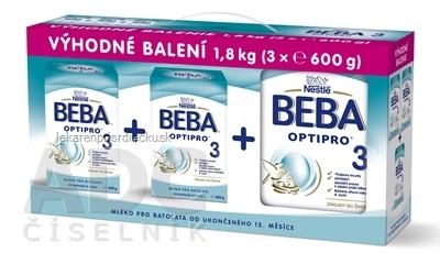 BEBA OPTIPRO 3 - Trojbalenie (modrá, inov. 2019) mliečna výživa (od ukonč. 12.mesiaca) 3x600 g (1,8 kg), 1x1 set