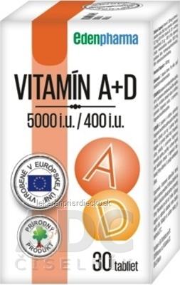 EDENPharma VITAMÍN A + D3 (5000 I.U./ 400 I.U.) tbl 1x30 ks