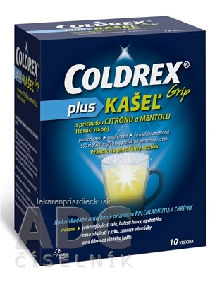 COLDREX Grip plus KAŠEĽ príchuť citrón a mentol plo por 500 mg/200 mg/10 mg (vre.ionomér/Al/LDPE/papier) 1x10 ks