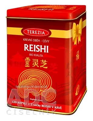 TEREZIA REISHI BIO KVALITA + darček cps 120 ks + darček (REISHI V KÁVE, 2 vrecúška) v plechovke, 1x1 set