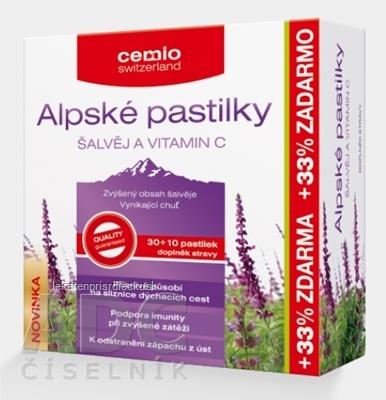 Cemio Alpské pastilky ŠALVIA A VITAMÍN C pastilky 30+10 (33% zadarmo) (40 ks)