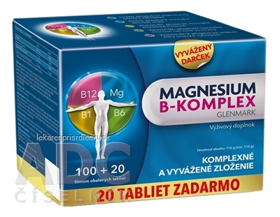 Magnesium B-komplex Glenmark tbl 100+20 ks zadarmo