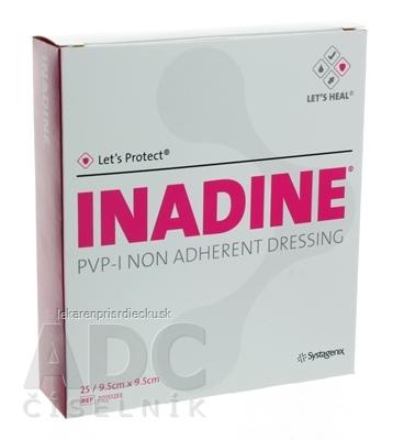 INADINE Povidone Iodine neadhezívne krytie (9,5x9,5 cm) 1x25 ks
