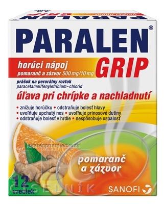 PARALEN GRIP horúci nápoj pomaranč a zázvor plo por 500 mg/10 mg, 1x12 vrecúšok