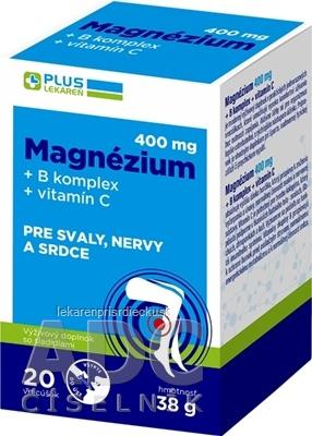 PLUS LEKÁREŇ Magnézium 400 mg+B komplex+vitamín C vrecúška s príchuťou grep 1x20 ks